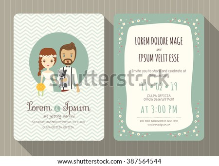 Wedding Invitation Card Template Cute Hipster Stock Vector 2018