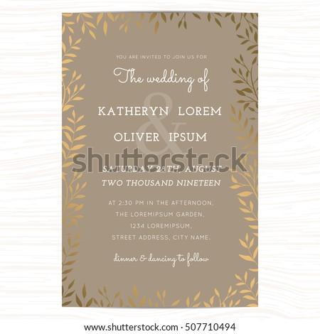 Wedding invitation card template golden color stock vector wedding invitation card template with golden color leaf on background vector illustration stopboris Images