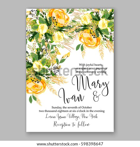 Wedding invitation card template yellow rose stock vector royalty wedding invitation card template yellow rose floral printable gold bridal shower invitation suite boho flower wreath stopboris Image collections