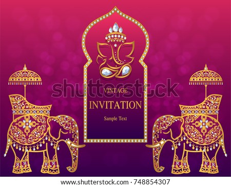Wedding Invitation Card Templates Gold Patterned Stock