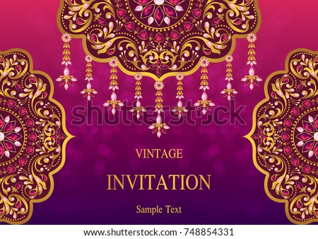 Wedding invitation card templates gold patterned stock vector 2018 wedding invitation card templates with gold patterned and crystals on background color stopboris