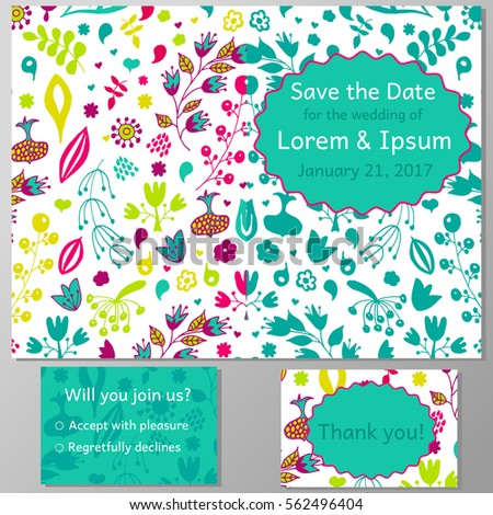 Wedding invitation card thank you card stock vector 562496404 wedding invitation card thank you card save the date card abstract floral pattern stopboris Image collections
