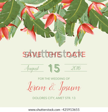 Wedding Invitation Card. Tropical Flowers Background. Banana Flowers. Save the Date.  Vector Tropical. Invitation Template. Wedding Theme. RSVP. - stock vector