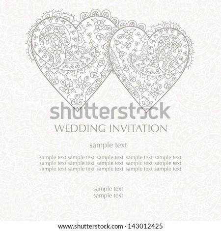 Wedding invitation card, vector - stock vector
