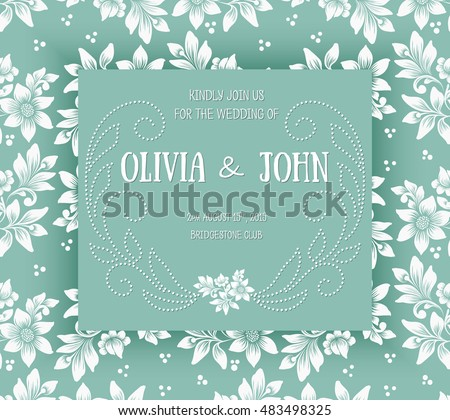 wedding invitation card vector invitation card with floral background and elegant frame with text decorated - Wedding Invitation Background