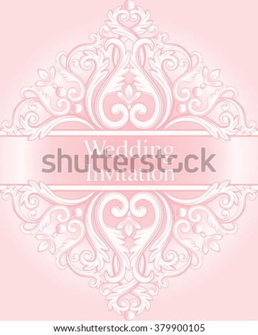 Wedding invitation card with abstract baroque royal background in pink pastel colors. Vector illustration. - stock vector
