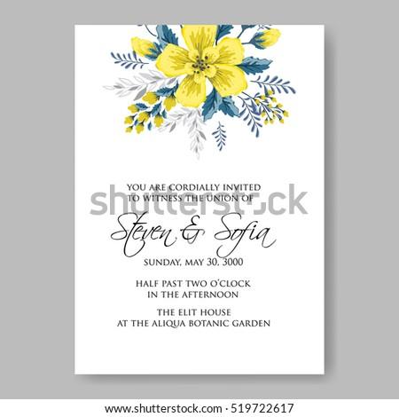 Wedding invitation card abstract yellow floral stock vector 2018 wedding invitation card with abstract yellow floral background romantic yellow peony bouquet bride wedding invitation stopboris Image collections