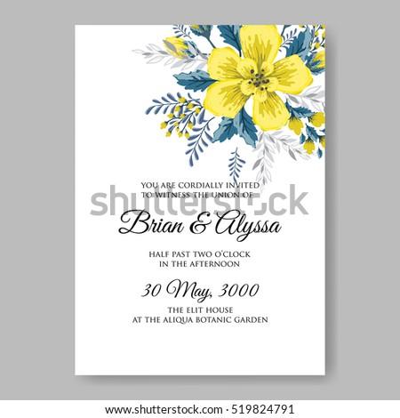 Wedding invitation card abstract yellow floral stock vector wedding invitation card with abstract yellow floral background romantic yellow peony bouquet bride wedding invitation stopboris Images