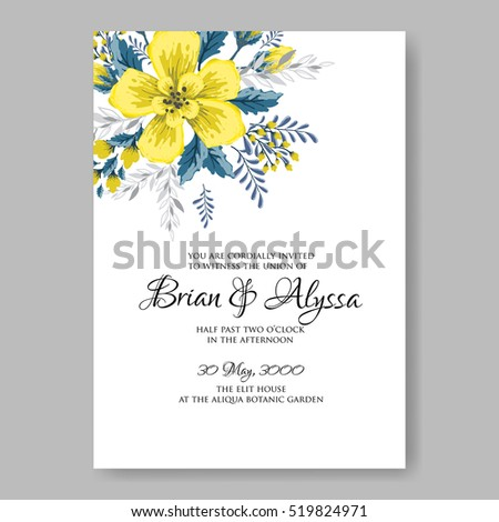 Wedding invitation card abstract yellow floral stock vector royalty wedding invitation card with abstract yellow floral background romantic yellow peony bouquet bride wedding invitation stopboris Image collections
