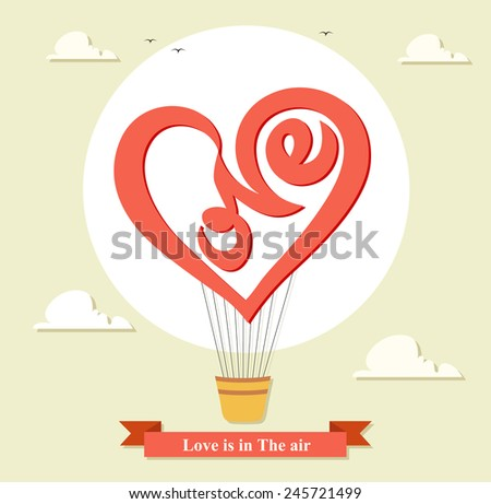 Wedding invitation card with air balloon in the sky with text - stock vector