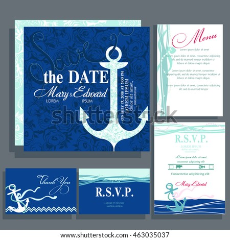Wedding invitation card anchor blue colors stock vector 2018 wedding invitation card with anchor in blue colors ocean and nautical motive rsvp stopboris Image collections