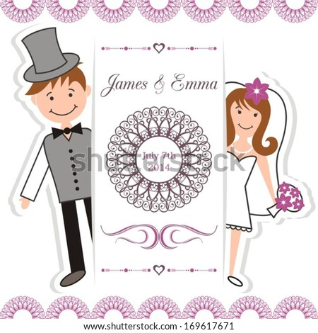 Wedding invitation card with bride and groom - stock vector