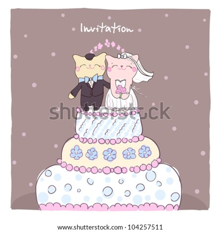 Wedding invitation card with cake topper cute cats.