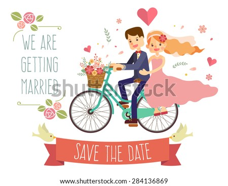 wedding invitation card with couple on bike - stock vector