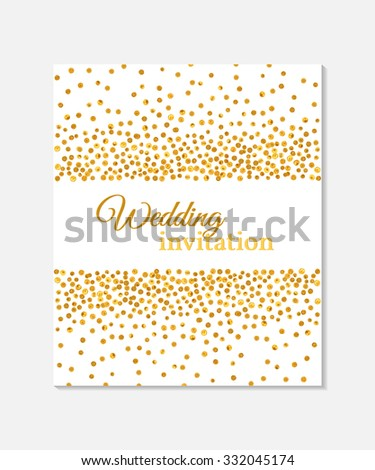 Wedding invitation card falling golden dots stock vector 332045174 wedding invitation card with falling golden dots on white background vector template you can stopboris Image collections