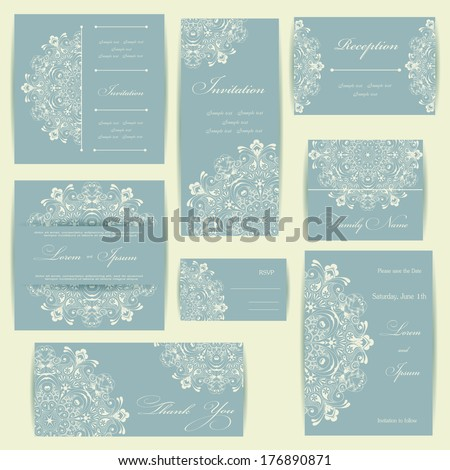 Wedding invitation card with floral elements. Vintage background. Vector illustration. - stock vector