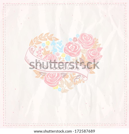 Wedding invitation card with floral heart and ribbon. Eps10