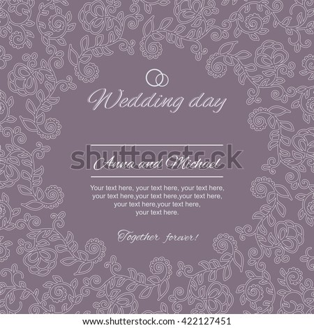 Wedding invitation, card with floral ornament on a purple background.