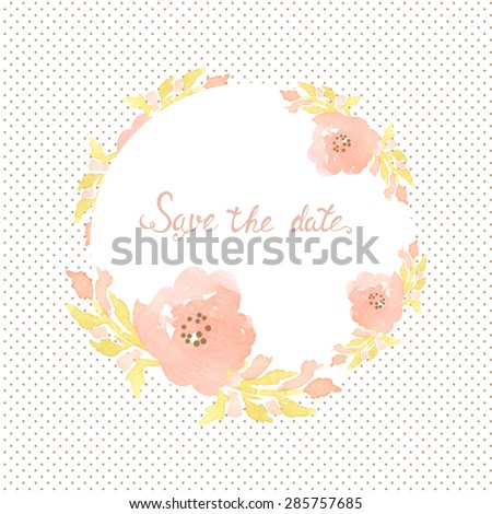 Wedding invitation card with flowers on polka dot background. Watercolor painted design with pink rose flowers and leaves - stock vector
