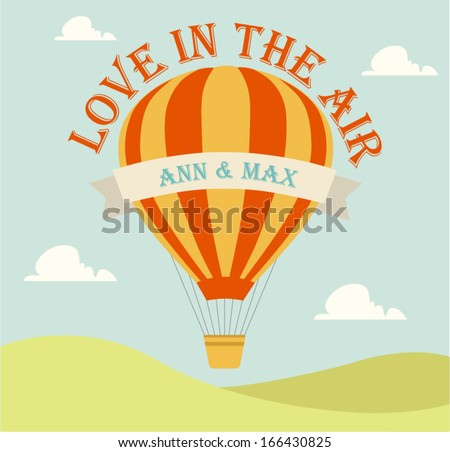 Wedding invitation card with flying hot air balloon in the sky with text - stock vector