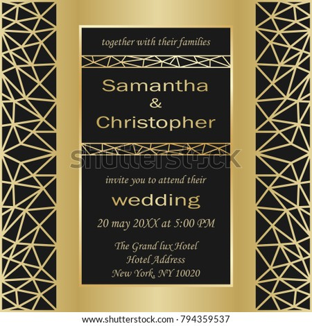 Wedding Invitation Card With Gold Geometric Artdeco Element. Luxury Mock Up,  Template For Greeting