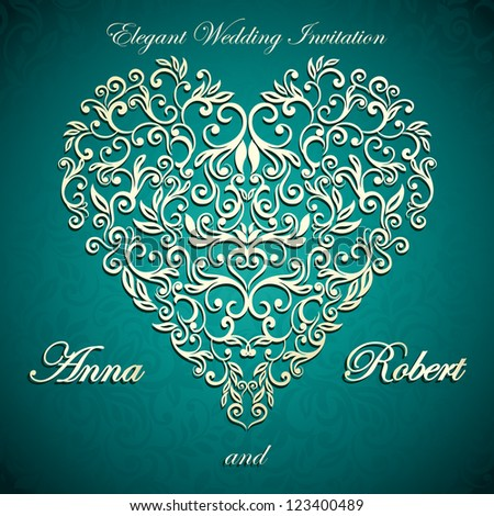 Wedding Invitation card with luxury elegant floral heart - stock vector