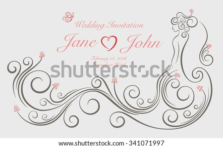 Wedding invitation card ornate swirl graphic stock photo photo wedding invitation card with ornate swirl graphic decoration in shape of bride standing with long dress stopboris Image collections