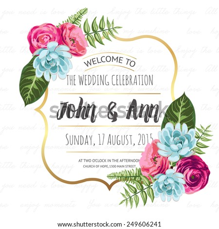 Wedding invitation card with painted flowers and plants. Vector illustration, cute design - stock vector
