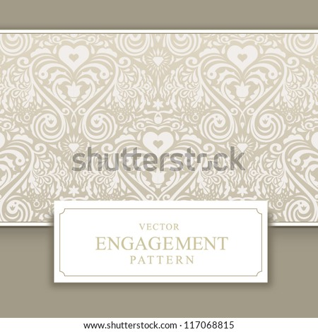 Wedding invitation card with pattern - stock vector