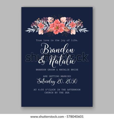 Wedding invitation card tropical poinsettia peony stock photo photo wedding invitation card with tropical poinsettia peony floral background greeting postcard vector elegance pattern with stopboris Choice Image