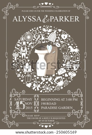 Wedding invitation card with wedding garment,icons ,swirling frame.Wreath composition.Set of  wedding flat items,white silhouette.Vintage vector.Holiday infographics,background, card,. - stock vector