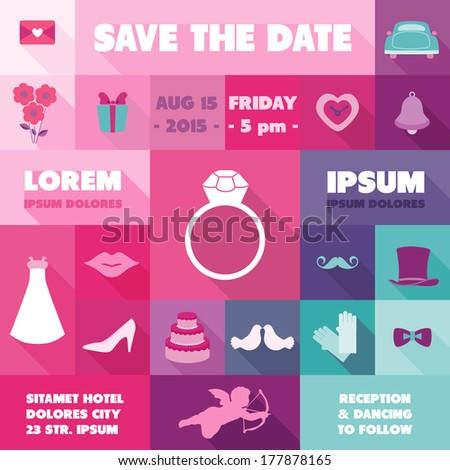 Wedding Invitation Card - with Wedding Icons - Save the Date - in vector - stock vector