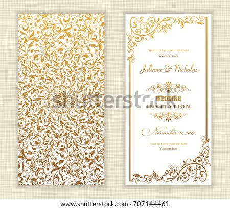 Wedding invitation cards baroque style gold stock vector 707144461 wedding invitation cards baroque style gold vintage pattern retro victorian ornament frame with stopboris Gallery