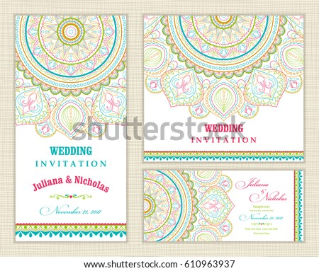 Wedding invitation cards eastern style blue stock vector 610963937 wedding invitation cards eastern style blue and red arabic pattern mandala ornament frame stopboris Images