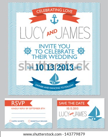 Wedding invitation cards set, nautical style, number 4