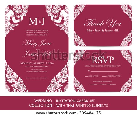 Wedding invitation cards set with Thai painting elements