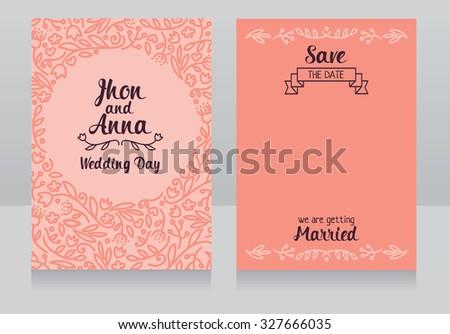wedding invitation cards, vector illustration - stock vector