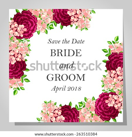 Wedding invitation cards floral elements em vetor stock 263510384 wedding invitation cards with floral elements stopboris Gallery