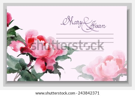 Wedding invitation cards with watercolor blooming peonies. (Use for Boarding Pass, invitations, thank you card.) Vector illustration.