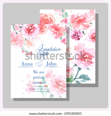 Wedding invitation cards with wild rose. (Use for Boarding Pass, invitations, thank you card.) Vector illustration.