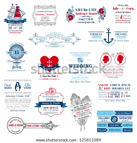 Wedding Invitation Collection - for design, scrapbook - in vector - stock vector
