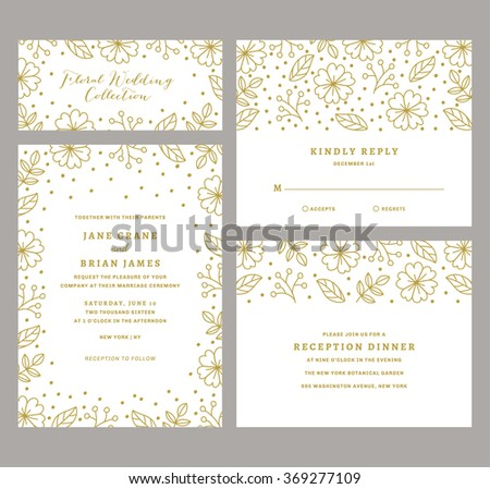 Wedding Invitation Collection with Floral and Confetti