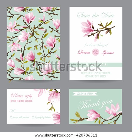 Wedding Invitation. Congratulation Card Set. Save the Date. Magnolia Flowers. Vector Postcards. - stock vector