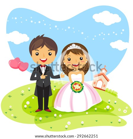 wedding Invitation couple cartoon, cute character design - vector illustration - stock vector