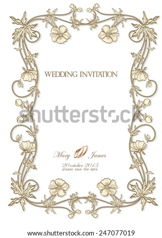 Wedding invitation decorated with poppy flowers hearts - stock vector