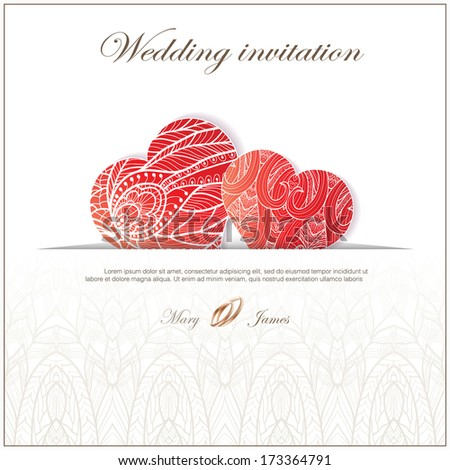 Wedding invitation decorated with red lace hearts
