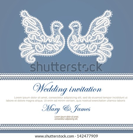 Wedding invitation decorated with white lace dove  - stock vector