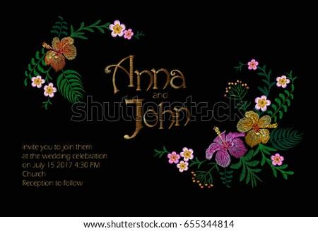 Wedding invitation design jungle hawaii flowers stock vector 2018 wedding invitation design jungle hawaii flowers stock vector 2018 655344814 shutterstock stopboris Images