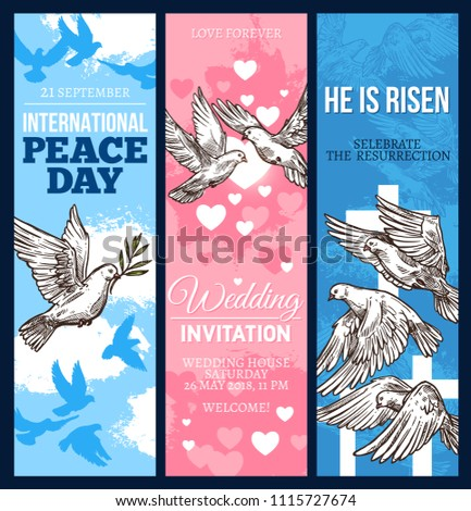 Wedding invitation easter religion holiday greeting stock photo wedding invitation easter religion holiday greeting card and world peace day banner with dove of stopboris Image collections
