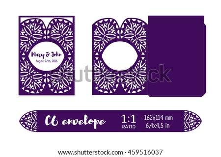 Wedding invitation envelope layout template laser stock for Laser engraver templates